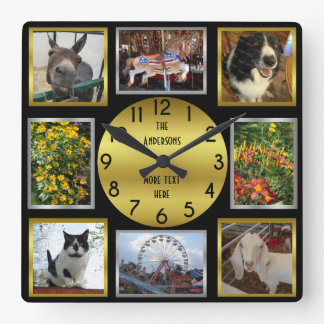 Photo Custom 8 Picture Personalized Black Gold Square Wall Clock