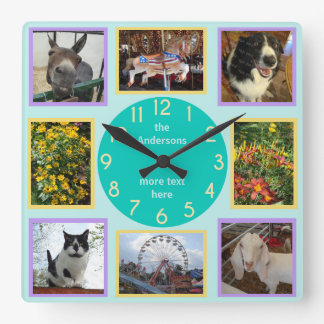 Photo Custom 8 Picture Personalized Color Block Square Wall Clock