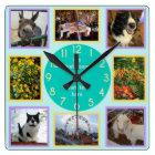 Photo Custom 8 Picture Personalized Colour Block Square Wall Clock