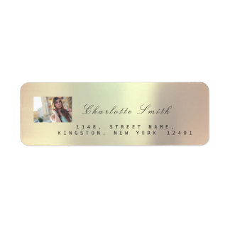Photo Custom Rose Gold RSVP Adress Metallic VIP