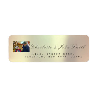 Photo Custom Rose Gold RSVP Copper Metallic VIP Return Address Label