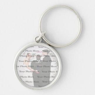 Photo Custom Round Silver Wedding Key Chain