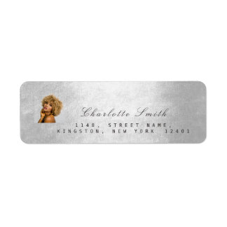 Photo Custom Silver Gray RSVP Adress Metallic Mini