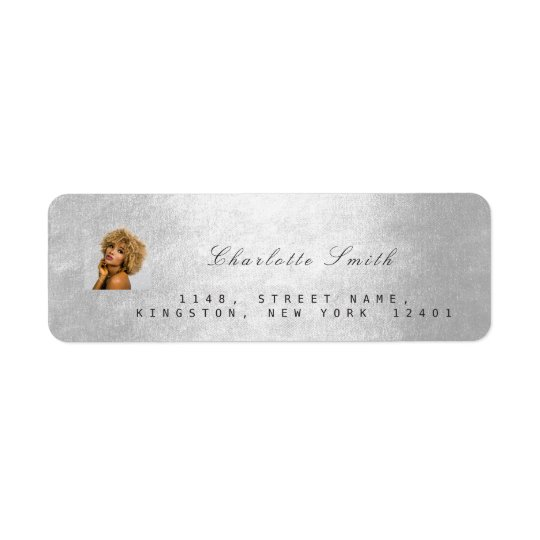 Photo Custom Silver Grey RSVP Adress Metallic VIP