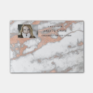 Photo Customer Service Marble Gold Pink Rose Coppe Post-it® Notes