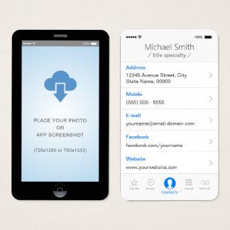 photo de copie d'écran du style $$etAPP d'IOS Cartes De Visite