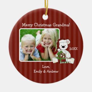 Photo de grand-maman d'ours de Noël personnalisée Ornement Rond En Céramique