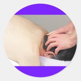 Photo de massage de cuir chevelu sticker rond