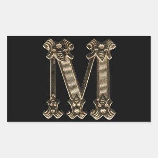 Photo d'or de la lettre M sur l'arrière - plan noi Stickers En Rectangle