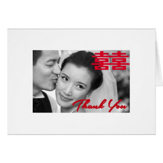 Photo Double Happiness Chinese Wedding Thank You Card