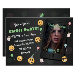 Photo Emoji Birthday Party Invitation