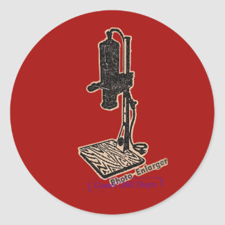 Photo Enlarger. Good Old Days. Classic Round Sticker