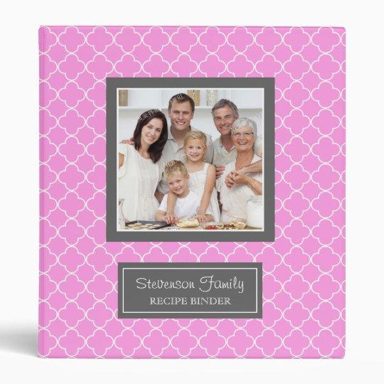 Photo Family  Recipe Binder Quatrefoil Pink