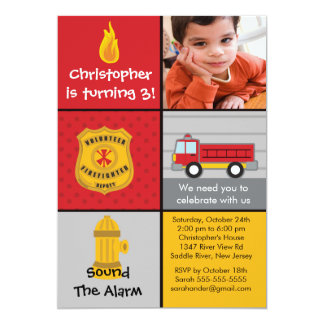 "Photo Fireman Boy Firetruck Birthday Party 5"" X 7"" Invitation Card"