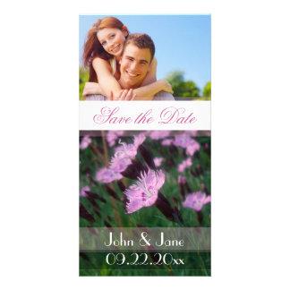 """/photo floral rose """"économies la date """" cartes de vœux avec photo"""