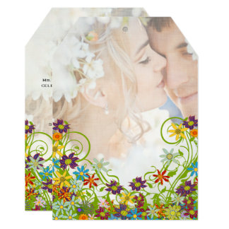 Photo Floral Swirly Flower Wedding Card