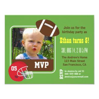 Photo Football Kids Birthday Party Invitations