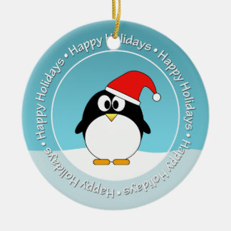 Photo Frame AND Penguin DOUBLE-SIDED Ceramic Ornament