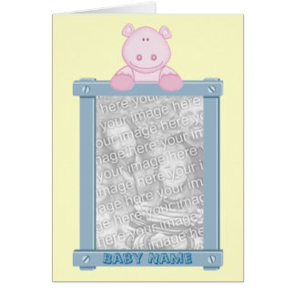 Photo Frame Birth Announcement with Hippo