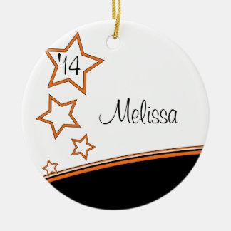 Photo Frame Black and Orange Graduation Ornament