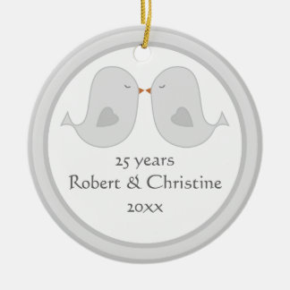 Photo Frame Lovebirds Anniversary Ceramic Ornament