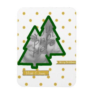 Photo Frame of Pine Tree and Golden Glitter & Dots Rectangular Photo Magnet