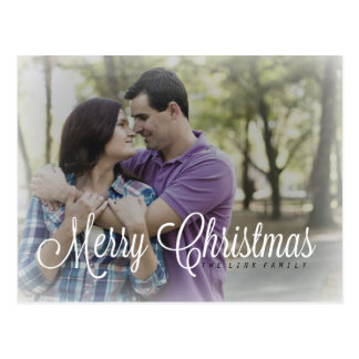 Photo Frosty Merry Christmas Holiday Postcard