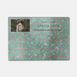 Photo Glam Custom Teal Sparkly Diamond Sequin Post-it Notes