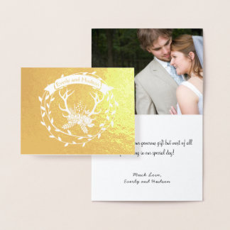 Photo Gold Foil Wreath Antlers Wedding Thank You Foil Card
