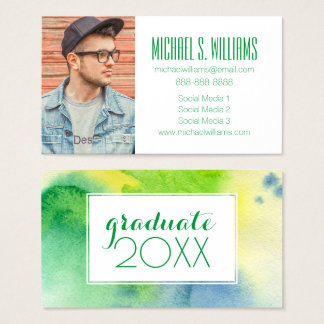 Photo Graduation | Abstract Watercolor Business Card