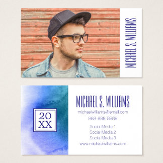 Photo Graduation | Abstract Watercolor Painted Business Card