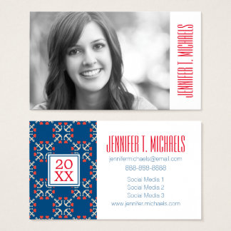 Photo Graduation | Anchor And Heart Pattern Business Card