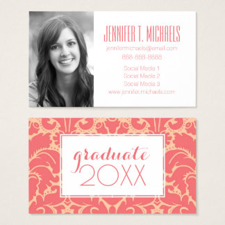 Photo Graduation | Baroque style damask background Business Card