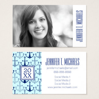 Photo Graduation | Blue Anchor Pattern Business Card