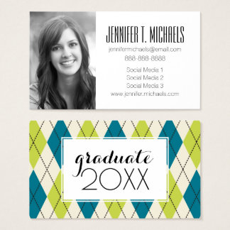 Photo Graduation | Blue And Green Argyle Business Card