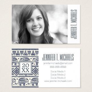Photo Graduation | Blue Ethnic Elephant Pattern Business Card
