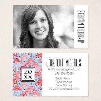 Photo Graduation | Bright Pink Flamingos On Blue Business Card