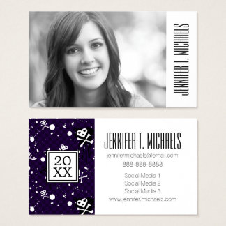 Photo Graduation | Dark Color Emo Pattern Business Card