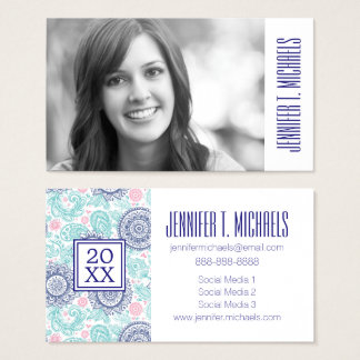 Photo Graduation | Ethnic Paisley Business Card