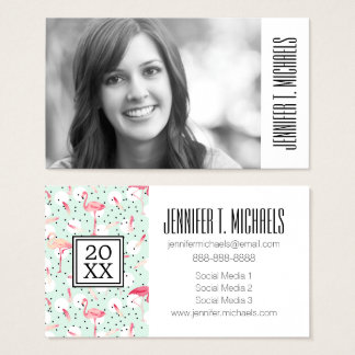 Photo Graduation | Flamingo Bird With Feathers Business Card
