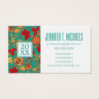 Photo Graduation | Floral pattern Business Card