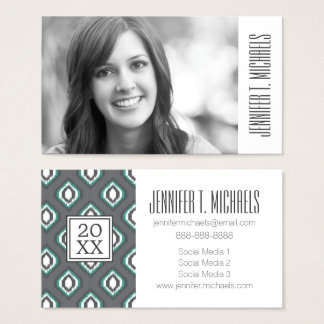 Photo Graduation | Geometric Retro Ikat Business Card