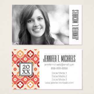 Photo Graduation | Golden Ikat Geometric Pattern Business Card