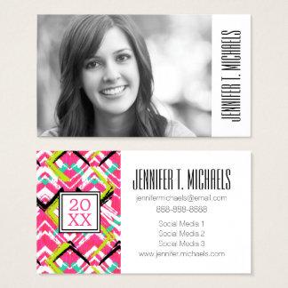 Photo Graduation | Hand Drawn Pink Zig Zag Business Card