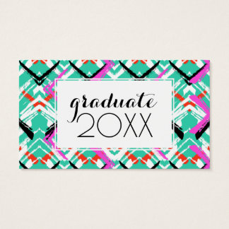 Photo Graduation | Hand Drawn Teal Zig Zag Business Card
