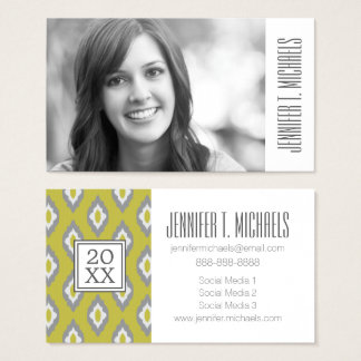 Photo Graduation | Ikat Vintage Pattern Business Card