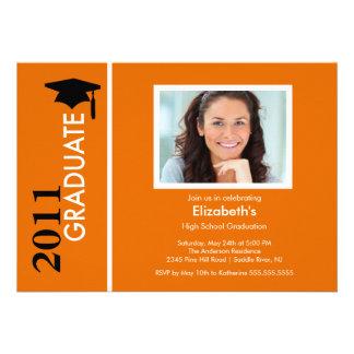 Photo Graduation Invitation Classy Orange Black