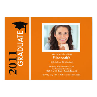 Photo Graduation Invitation Classy Orange & Black
