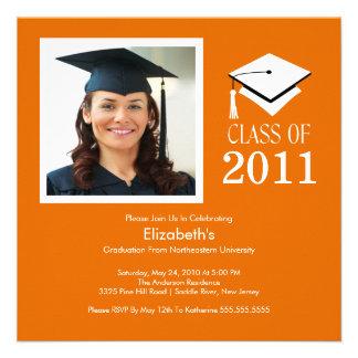 Photo Graduation Invitation Classy Orange White