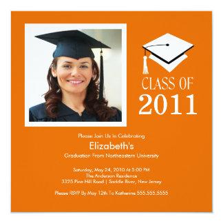 Photo Graduation Invitation ~Classy Orange & White